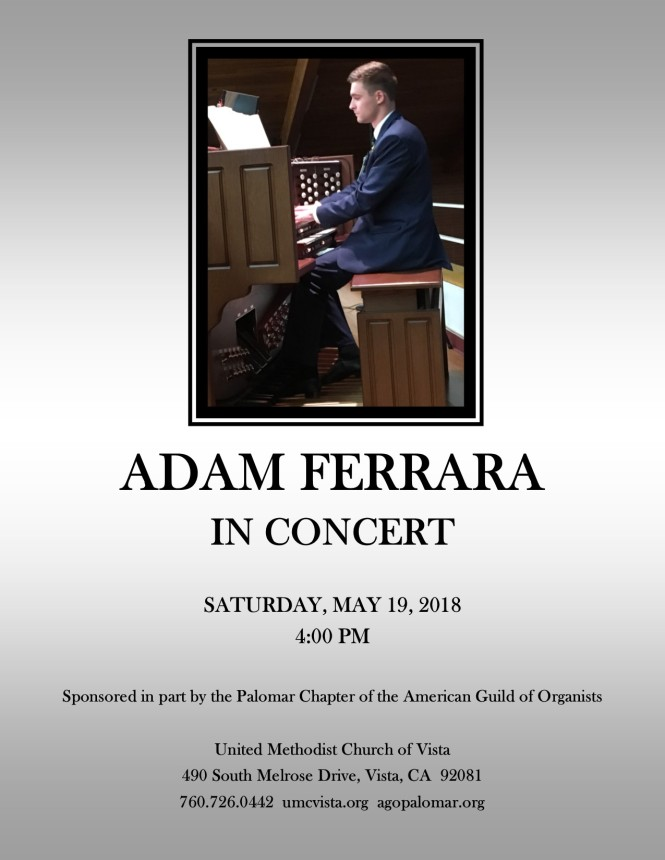 Adam Ferrara Concert Flyer May 19, 2018