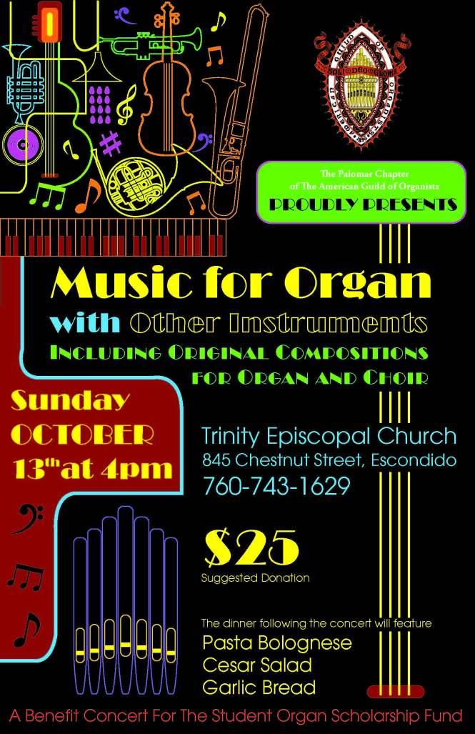 October 13, 2019 AGO Fundraiser Concert Flyer